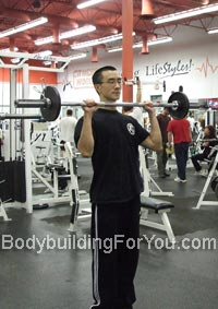 reverse barbell curl exercise